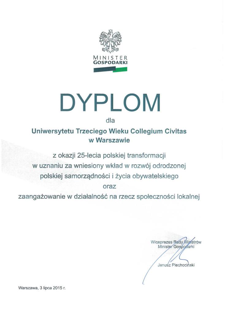 Dyplom od MG dla UTW CC_2015