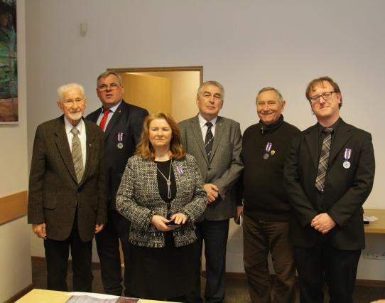 Od lewej: Leszek Żukowski, Wiesław Witek, Halina Rakowska, Marek Cieciura, Maciej Rayzacher, Marius Gudonis