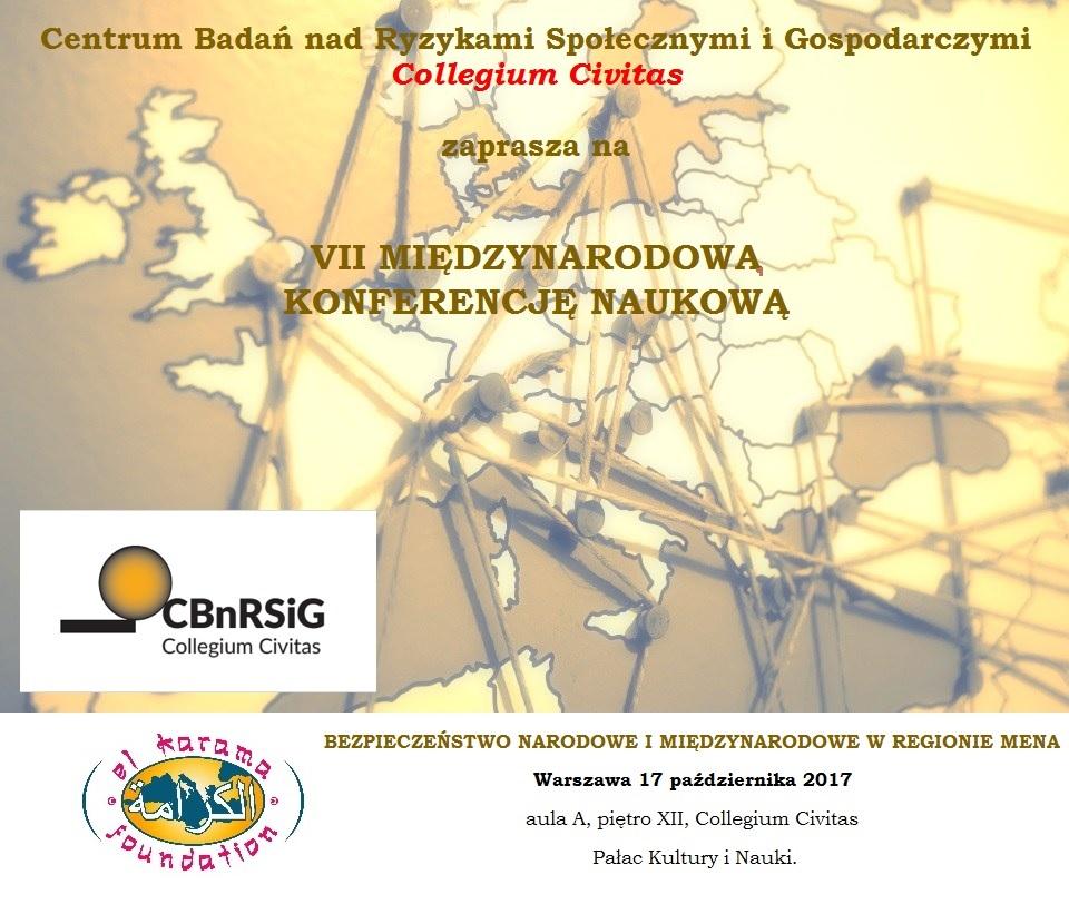 plakat konferencja BEZPIECZEŃSTWO NARODOWE I MIĘDZYNARODOWE W REGIONIE MENA